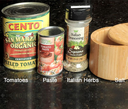 Ingredients for New York Pizza Sauce
