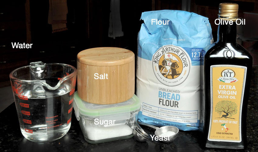 Ingredients for New York pizza dough